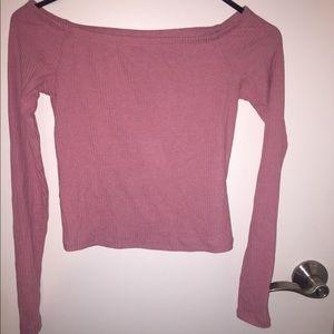 H&M off the shoulder ribbed pink top